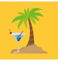 Cocktail palm sand beach symbol vector