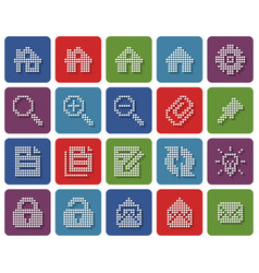 collection rounded square dotted icons user vector image