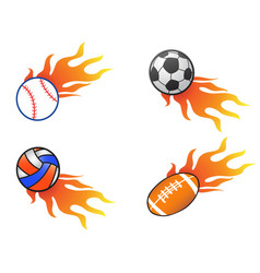 Color fire ball icons set vector