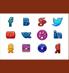 Colored icons social media buttons set vector