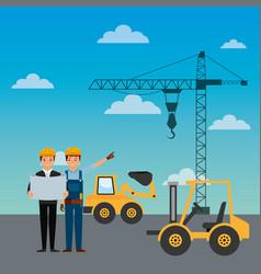 construction workers engineer foreman truck vector image