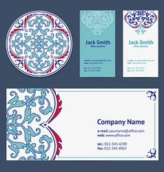 Corporative Business Cards Design Set and Envelope vector image