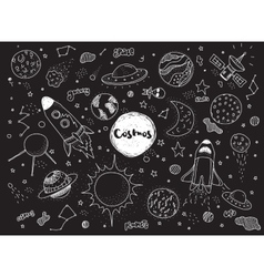 Cosmic objects set Hand drawn doodles vector