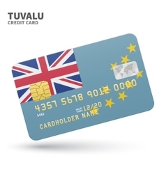 Credit card with Tuvalu flag background for bank vector image
