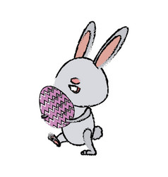 cute easter bunny holding egg spring party vector image