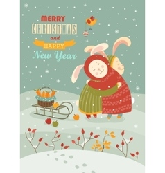 Cute rabbits celebrating Christmas vector