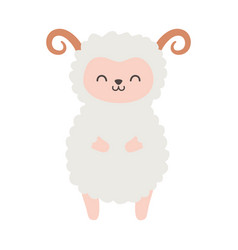 Cute sheep with horns on white background vector