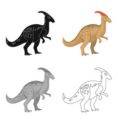 Dinosaur parasaurolophus icon in cartoon style vector