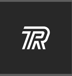 Double letters tr logo monogram creative linear vector
