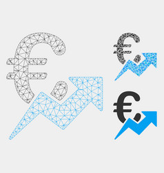 euro growth mesh network model and triangle vector image