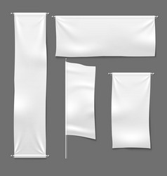 flag and hanging banners white advertising blank vector image