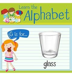 Flashcard alphabet G is for glass vector