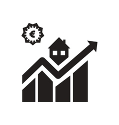 Flat icon in black and white increasing graph vector