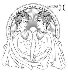 gemini line art vector image