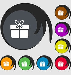 Gift box icon sign Symbols on eight colored vector image