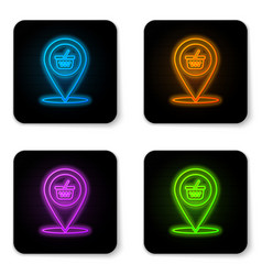 glowing neon map pointer with shopping basket vector image