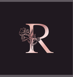 Gold rose flower letter r luxury logo elegant vector
