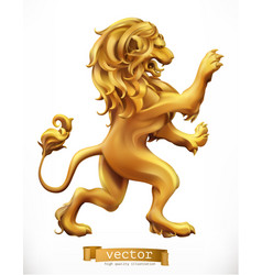 Golden lion emblem 3d realistic icon vector