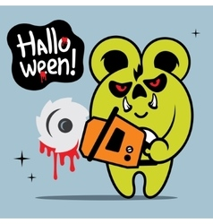 Halloween Crazy Bear Cartoon vector image