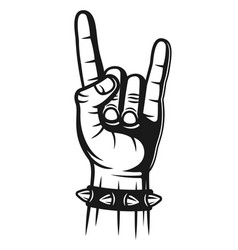 Heavy metal hand gesture with spiked bracelet vector