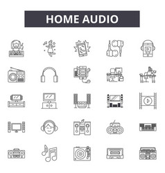 home audio line icons signs set outline vector image