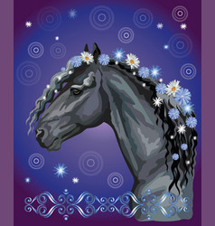Horse portrait with flowers12 vector