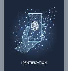 identification mobile phone with print vector image