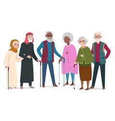 International happy old people elderly vector