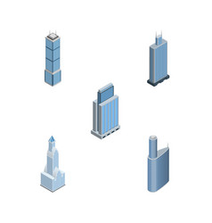 Isometric building set of business center vector