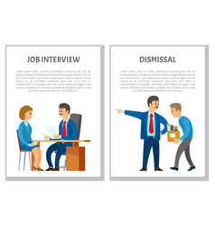 job interview and dismissal of employee posters vector image
