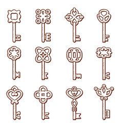 keys icon silhouettes keys and locks old vector image