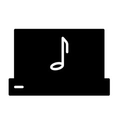 laptop with music note silhouette icon pictogram vector image vector image