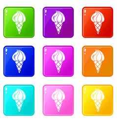 lemon ice cream icons set 9 color collection vector image