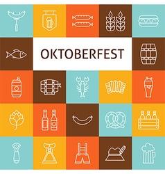 Line Art Modern Oktoberfest Beer Holiday Icons Set vector image