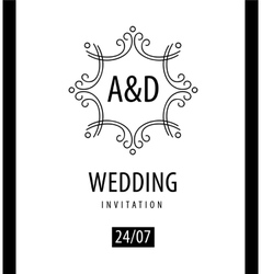 line logo Wedding ornament invitation vector image