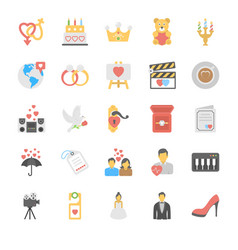 love and romance icons set vector image