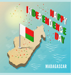 madagascar map with flag in isometric style vector image
