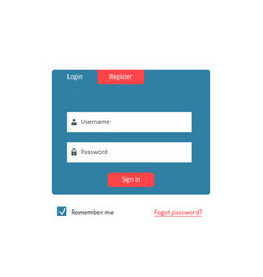 Member registration form for user account vector