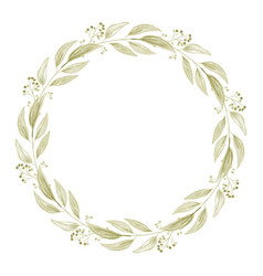 minimal watercolor green leaf and berry wreath vector image