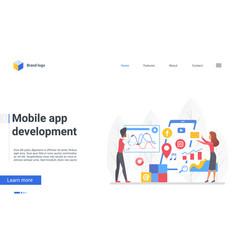 mobile app development landing page designer vector image