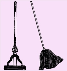 mop cleaning vector image