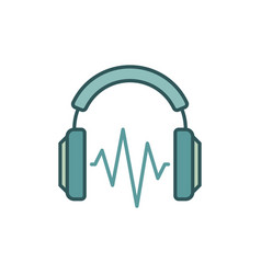 on-ear headphones with sound wave colored vector image