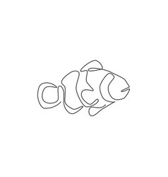 one single line drawing cute clown fish vector image