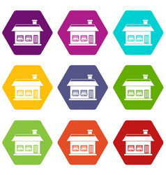 one storey house with two windows icon set color vector image