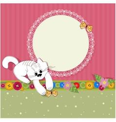 Ornament retro kitten vector
