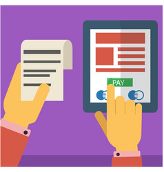pay the bill trough internet using smart phone vector image