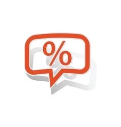 Percent message sticker orange vector