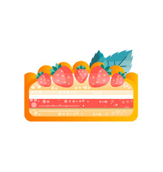 Piece of layered delicious cake with strawberrie vector