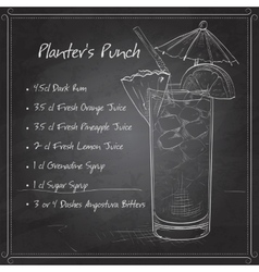 Planter Punch cocktail on black board vector