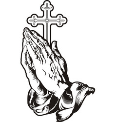 praying hands with cross silhouette vector image
